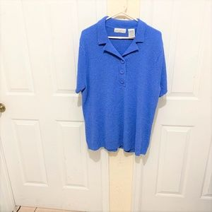 White Stag 2X Women Rally Blue Short Sleeves Knit